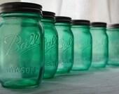 Stained Mason Pint Jars, Seafoam Green, Set of 6