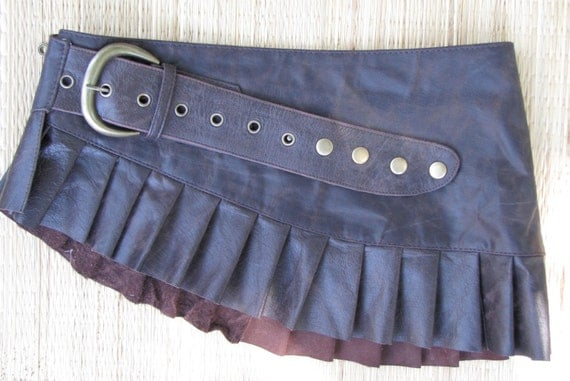 Distressed brown leather mini skirt antique dark brown leather skirt steampunk fetish tribal