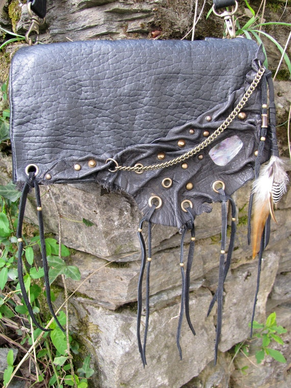 Black leather handbag leather hip bag leather clutch bag feathers, shell and studs  hand made