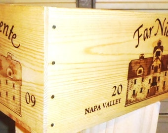 Far Niente Wine Box Crate with Natural Stained Finish