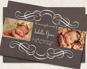 Modern Baby Birth Announcement, Thank You,  baby shower, scroll grey cream, Digital File, you print