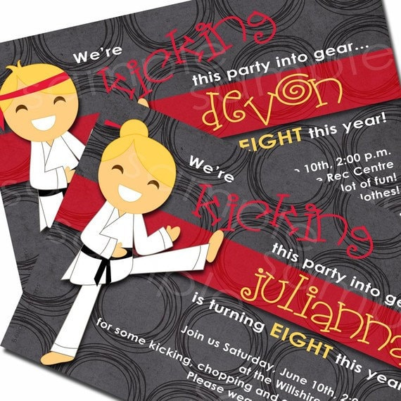 Items Similar To Karate Chop Birthday Party Invitation For