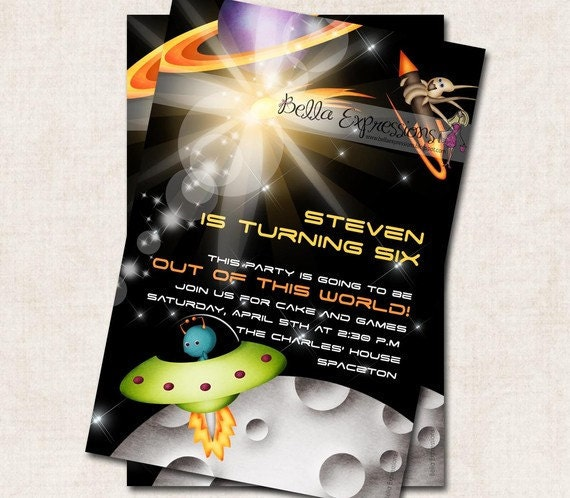 Items similar to space theme birthday party invitation for Space themed stationery