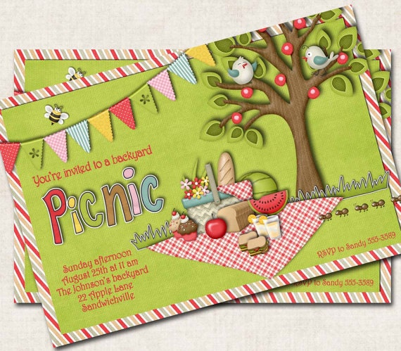 Items Similar To Picnic Party Invitation, Green, Red, Digital File