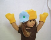 Yellow Fleece Hat with Flower and Mittens