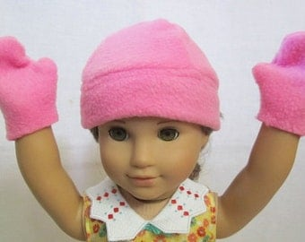 Fleece Hat and Mittens (Pink)