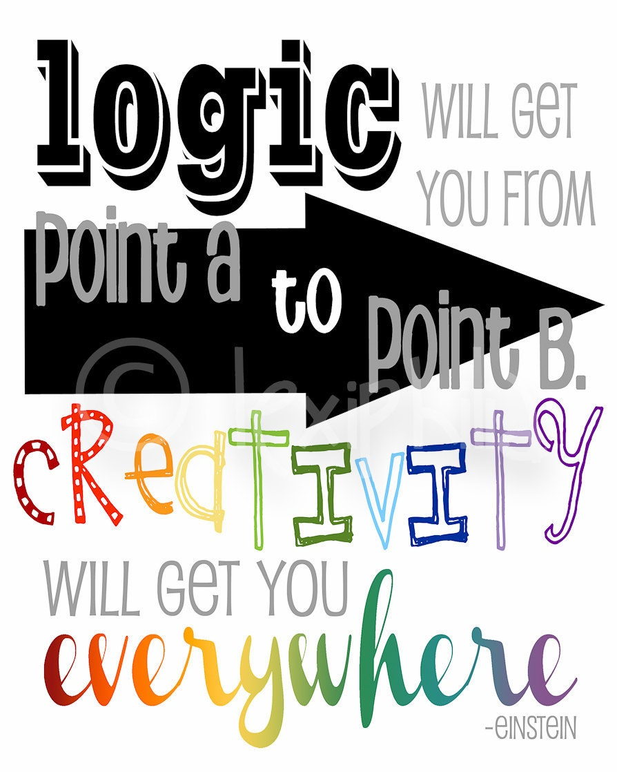 Creative And Inspirational Home Offices: Einstein Print Logic And Creativity Wall Art By Lexiphilia