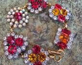 GoldenYellow & RubyRed II Czech Crystal Rhinestone Button Bracelet,Repurposed Vintage Button,Chunky Bracelet,Whimsical, MoniquesBijouxStudio
