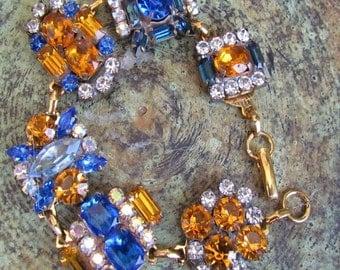 Golden yellow,Navy & Royal Blue III Czech Crystal Rhinestone Button Bracelet,Repurposed Buttons,Whimsical Bracelet,MoniquesBijouxStudio
