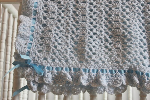 Sky Blue Baby Afghan -- Ribbon Detail