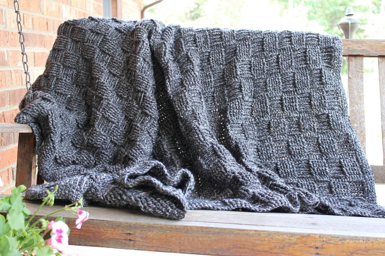 Heather Gray Afghan Basket Weave Crochet