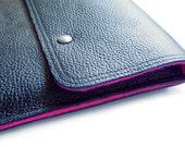 iPad sleeve BLACK genuine leather & wool felt neon pink