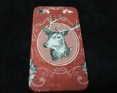 Elegance Deer  in red iphone 4s case/ iphone 4s cover / iPhone 4 Case / iPhone 4 Cover Decoupage
