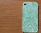green lace  iphone 4s case/ iphone 4s cover / iPhone 4 Case / iPhone 4 Cover  Decoupage