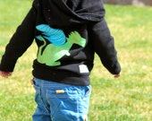 Dragon Hoodie for toddler or baby- two sided applique sweatshirt