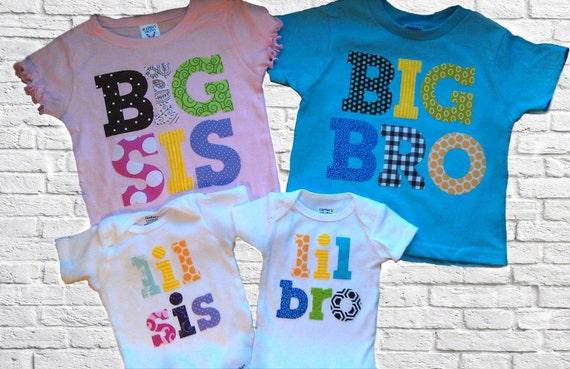 Reserved for Misty Pancake- 4 shirts Big Sister Little Brother Big Brother Little sister sibling shirts onesies set