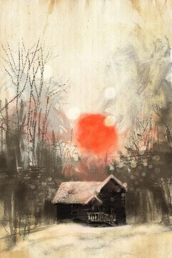 Digital Landscape Drawing Winter Landscape Print Digital