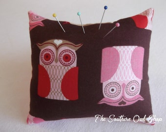 Red and pink owl pink cushion or sorority badge/pin pillow