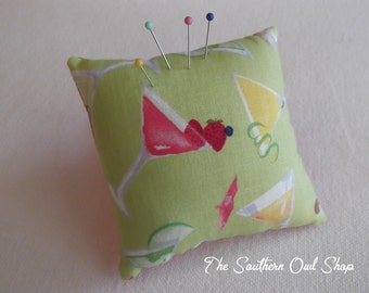Lime green martini print pin cushion