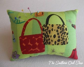 Red and animal print handbag/purse pin cushion