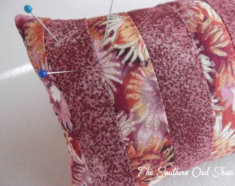 Pink stripe pieced quilt block pin cushion