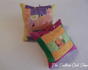 Quilt block pin cushions - Set of two