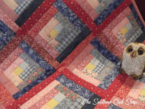 Pink and blue log cabin small quilt