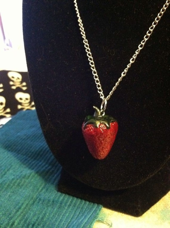 Sweet Strawberry Polymer Clay Necklace