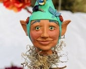 Bloomingstacker-OOAK hand sculpted polymer clay figure with hats, hand painted with acrylic, fairy, gnome, elf sculpture