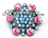 Rhinestone Buttons, metal - Hexagon - 26mm - set of  FIVE - Turquoise and Pink Stones
