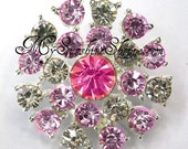 Metal Rhinestone Buttons - Sunburst - 26mm - set of  FIVE - Pink and Clear Stones