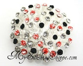 Metal Rhinestone Buttons - 3D button - SMALL 20mm - set of  FIVE - Holiday Red and Black