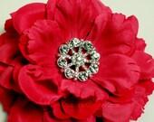 Metal Rhinestone Pinwheel Buttons - Small 20mm - set of  FIVE - Crystal Stones