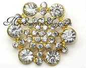 Rhinestone Buttons, Metal - Hexagon - 26mm - set of  FIVE - GOLD metal with clear stones