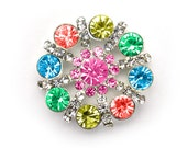 Metal Rhinestone Pinwheel Buttons - Small 20mm - set of  FIVE - Rainbow Stones