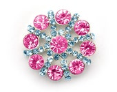 Metal Rhinestone Pinwheel Buttons - Small 20mm - set of  FIVE - Pink and Turquoise stones