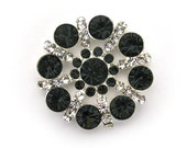 Metal Rhinestone Pinwheel Buttons - Small 20mm - set of  FIVE - black and clear stones