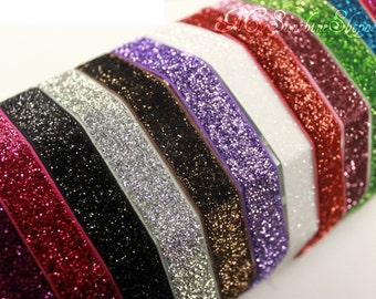 5/8th inch Stretch glitter elastic - 5 yards - you choose color