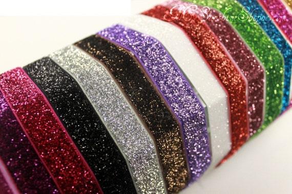 5/8th inch Stretch glitter elastic - 5 yards - you choose color