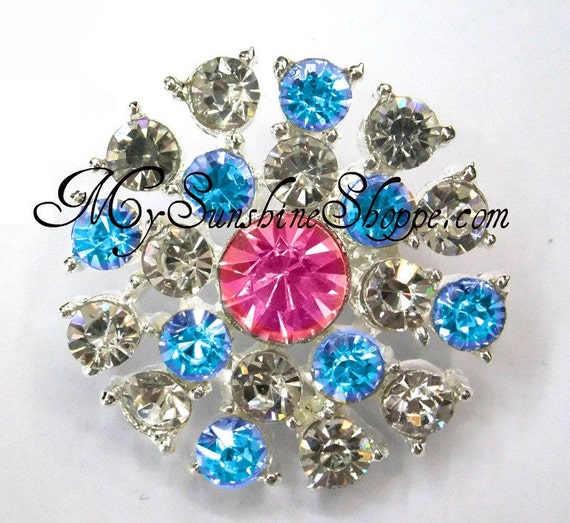 Metal Rhinestone Buttons - Sunburst - 26mm - set of  FIVE -Turquoise and Pink Stones