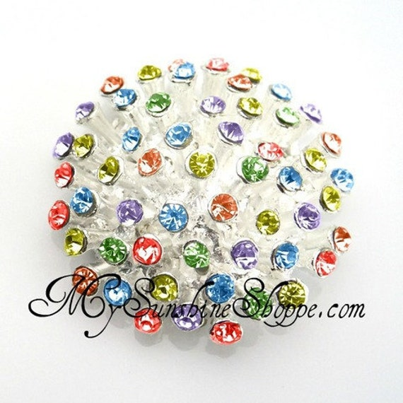 Metal Rhinestone Buttons - 3D button - 30mm - set of  FIVE - Bold Rainbow