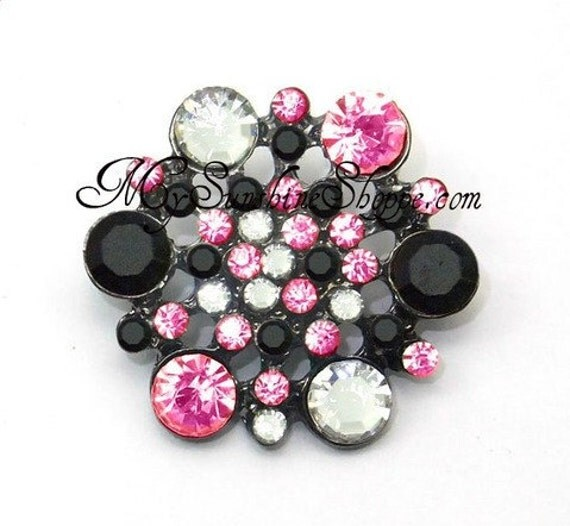 Metal Rhinestone Buttons - Hexagon - small 16mm - set of  FIVE - Hot pink and Black