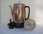 """Vintage Woolworth """"Happy Home"""" Copper Colored Percolator"""