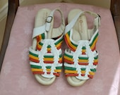 Vintage White and Rainbow Huarache Slingback Sandals / Size 7 / 1990s Sandals