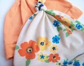 Baby Hat, in Vintage Mod Spring Flowers, SALE