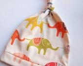 Newborn Hat, Organic Cotton Knotted Beanie in Bright Elephants