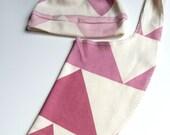 Baby Hat and Bib Set, Geometric Triangles, Organic Baby Girl Gift