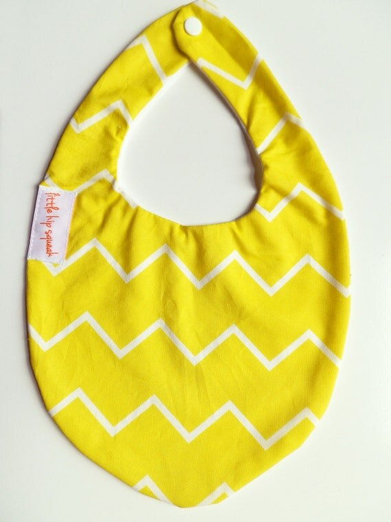 Baby Bib, Skinny Yellow Chevron, Hip Baby Gift, Perfect for Easter