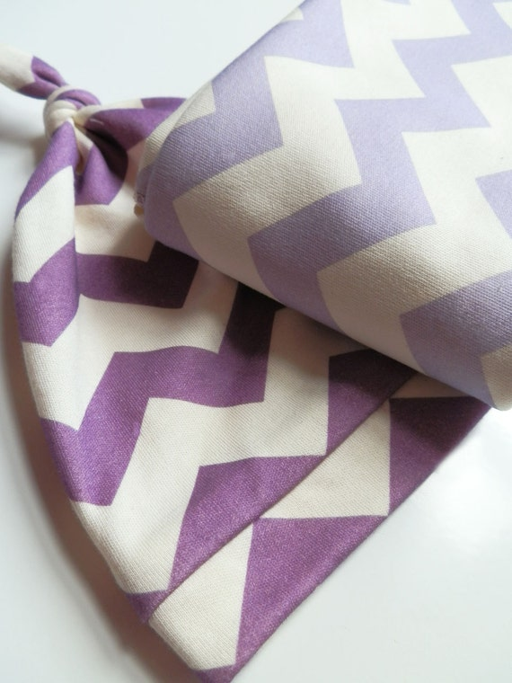 Baby Blanket Gift Set, Lavender & Grape Chevron, Organic Baby Blanket and Hat