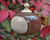 Christmas Ornament - Walnut globe with accents